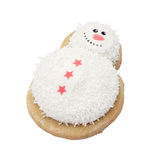Novelty xmas biscuit. Snowman biscuit isolated on white Royalty Free Stock Photography