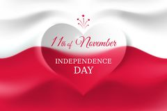 Free November 11, Poland Independence Day, Polish Flag In The Shape Of A Heart. Background With A Waving Flag. National Holiday Stock Photography - 160463052