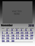 November 2010. Wall calendar with place for your kids image. Week starts on sunday Stock Image