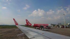 2017 November 20 : Air asia flights from Chiang Rai CEI - Chiang Rai Intl to Bangkok DMK - Don Mueang Intl. On sky. view from window seat passenger. take photo Stock Photo