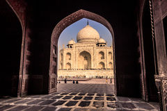 November 02, 2014: Archway from a mosque to the Taj Mahal in Agr Stock Photos