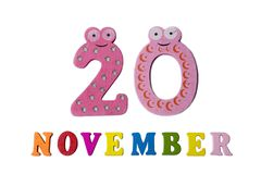 Am 20. November auf einem weißen Hintergrund, Zahlen und Buchstaben Stockbilder