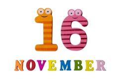16. November auf weißem Hintergrund, Zahlen und Buchstaben Stockbild