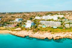A view of a azzure water and Nissi beach in Aiya Napa, Cyprus. November 10, 2018. Ayia Napa, Cyprus. A view of a azzure water and Nissi beach in Aiya Napa stock photo