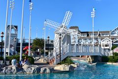 Beatiful pool with windmill and lazy river on Stormalong Bay, Lake Buena Vista area.