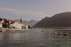 30 november 2018.Beautiful mediterranean landscape - town Perast, Kotor bay Boka Kotorska, Montenegro. - Image