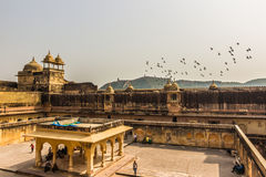 04 november, 2014: Binnenplaats van Amber Fort in Jaipur, India Stock Foto's