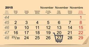 27 November 2015 Black Friday Sale. Calendar Stock Images