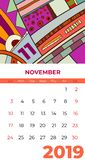 2019 November calendar abstract contemporary art vector. Desk, screen, desktop month 11,2019, colorful 2019 calendar template stock illustration