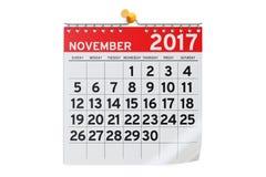 November 2017 calendar, 3D rendering Royalty Free Stock Photography