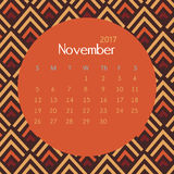 2017 November calendar design with geometric background | colorful modern business Stock Image
