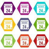 24 november calendar icon set color hexahedron. 24 november calendar icon set many color hexahedron isolated on white vector illustration Stock Images