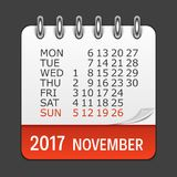 November 2017 Calendar Daily Icon. Vector Illustration Emblem.. November 2017 Calendar Daily Icon. Vector Illustration Emblem. Element of Design for Decoration Royalty Free Stock Photo