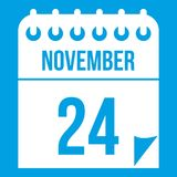 24 november calendar icon white Royalty Free Stock Photography