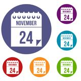 24 november calendar icons set. In flat circle reb, blue and green color for web Stock Photo