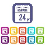 24 november calendar icons set. Vector illustration in flat style in colors red, blue, green, and other Stock Photos