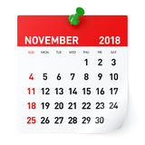 November 2018 - Calendar. Isolated on White Background. 3D Illustration Stock Image