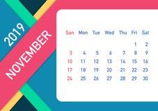 November 2019 Calendar Leaf. Calendar 2019 in flat style. A5 size. Vector illustration. November 2019 Calendar Leaf. Calendar 2019 in flat style. A5 size vector illustration
