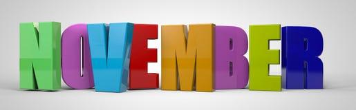 Free November Calendar Month Multicolor Text Banner, 3d Render Stock Photo - 125865070