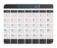 November 2017 calendar. stock illustration