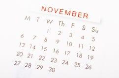 November calendar page. Close up November 2017 calendar page stock image