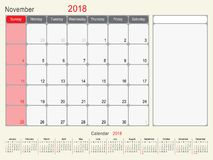 November 2018 Calendar Planner Design. 2018 Calendar Planner Design, November 2018 year vector calendar design Royalty Free Stock Photo
