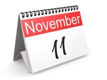 November 11 on calendar. November 11 on red and white calendar, 3D rendering Royalty Free Stock Photos