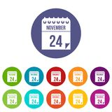 24 november calendar set icons Stock Image
