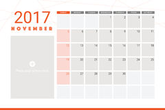 November 2017 calendar. With space for picture Royalty Free Stock Photo