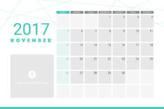 November 2017 calendar. With space for your pictures Stock Photos