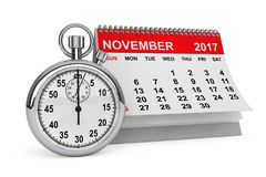 November 2017 calendar with stopwatch. 3d rendering. 2017 year calendar. November calendar with stopwatch on a white background. 3d rendering Stock Photo
