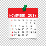 November 2017 Calendar. November 2017. Calendar vector illustration Royalty Free Stock Images