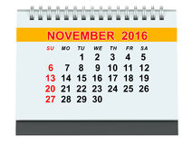November 2016 calendar. On white background Royalty Free Stock Images
