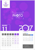 November 2017. Calendar 2017. November 2017. Calendar for 2017 Year. 2 Months on Page. Vector Design. Template with Place for Photo and Company Logo Stock Photos