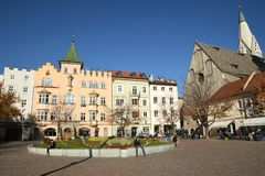 The Centre of Bressanone. Brixen / Bressanone is a town in South Tirol in northern Italy. South Tyrol. 3 November 2017: The Centre of Bressanone. Brixen / stock image
