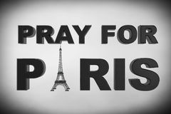 13 November 2015 Concept. Pray for Paris Sign. On a white background Royalty Free Stock Image
