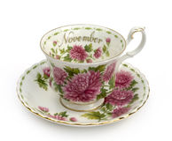 November Cup and Saucer. Cup and Saucer - Month of November -Mums stock images