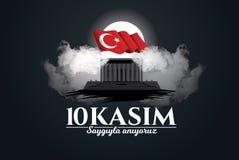 November 10 döddag Mustafa Kemal Ataturk royaltyfri illustrationer