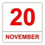 November 20 Dag på kalendern Arkivfoto