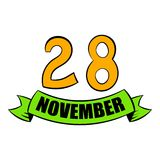 28 november date icon cartoon. 28 november date icon in cartoon style isolated vector illustration Royalty Free Stock Photography