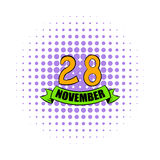 28 november date icon, comics style. 28 november date icon in comics style on a white background Royalty Free Stock Photos