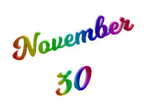 November 30 Date Of Month Calendar, Calligraphic 3D Rendered Text Illustration Colored With RGB Rainbow Gradient. Isolated On White Background Stock Photo