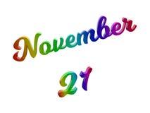 21. November Datum des Monats-Kalenders, machte kalligraphisches 3D Text-Illustration gefärbt mit RGB-Regenbogen-Steigung Stockfotos