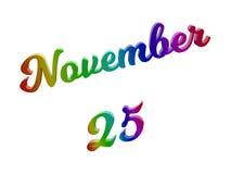 25. November Datum des Monats-Kalenders, machte kalligraphisches 3D Text-Illustration gefärbt mit RGB-Regenbogen-Steigung Stockbild