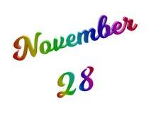 28. November Datum des Monats-Kalenders, machte kalligraphisches 3D Text-Illustration gefärbt mit RGB-Regenbogen-Steigung Stockbilder