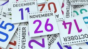 November 26 datum p? kalendersidan framf?rande 3d stock illustrationer
