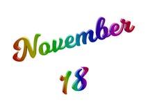 18 november Datum van Maandkalender, Kalligrafische 3D Teruggegeven Tekstillustratie kleurde met RGB Regenbooggradiënt Stock Foto
