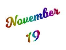 19 november Datum van Maandkalender, Kalligrafische 3D Teruggegeven Tekstillustratie kleurde met RGB Regenbooggradiënt Royalty-vrije Stock Foto's