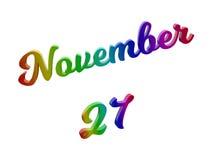 27 november Datum van Maandkalender, Kalligrafische 3D Teruggegeven Tekstillustratie kleurde met RGB Regenbooggradiënt stock illustratie