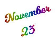 23 november Datum van Maandkalender, Kalligrafische 3D Teruggegeven Tekstillustratie kleurde met RGB Regenbooggradiënt Royalty-vrije Stock Foto's